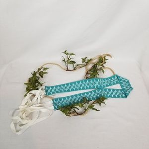 "Hand Beaded tribal style teal belt ribbon ties 32"""